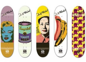 Skateboards, featuring artwork by Andy Warhol